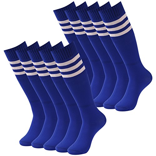 Sports Knee High Socks, Diwollsam Men Colorful Crazy Funky Light Cute Stripe Football Baseball Soccer School Uniform Cheerleading Tube Long Team Socks 10 Pairs Blue for Big Boy