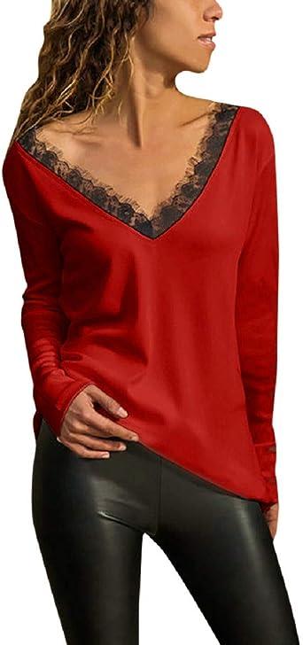 Blusa Verano Hermoso Tops con Encaje Mujer Manga Larga Originales Camisa Hermoso Tops con Encaje Fiesta Pullover Deporte Cuello en V Básica Blusas Camisas Tallas Grandes(XL,Rojo): Amazon.es: Hogar
