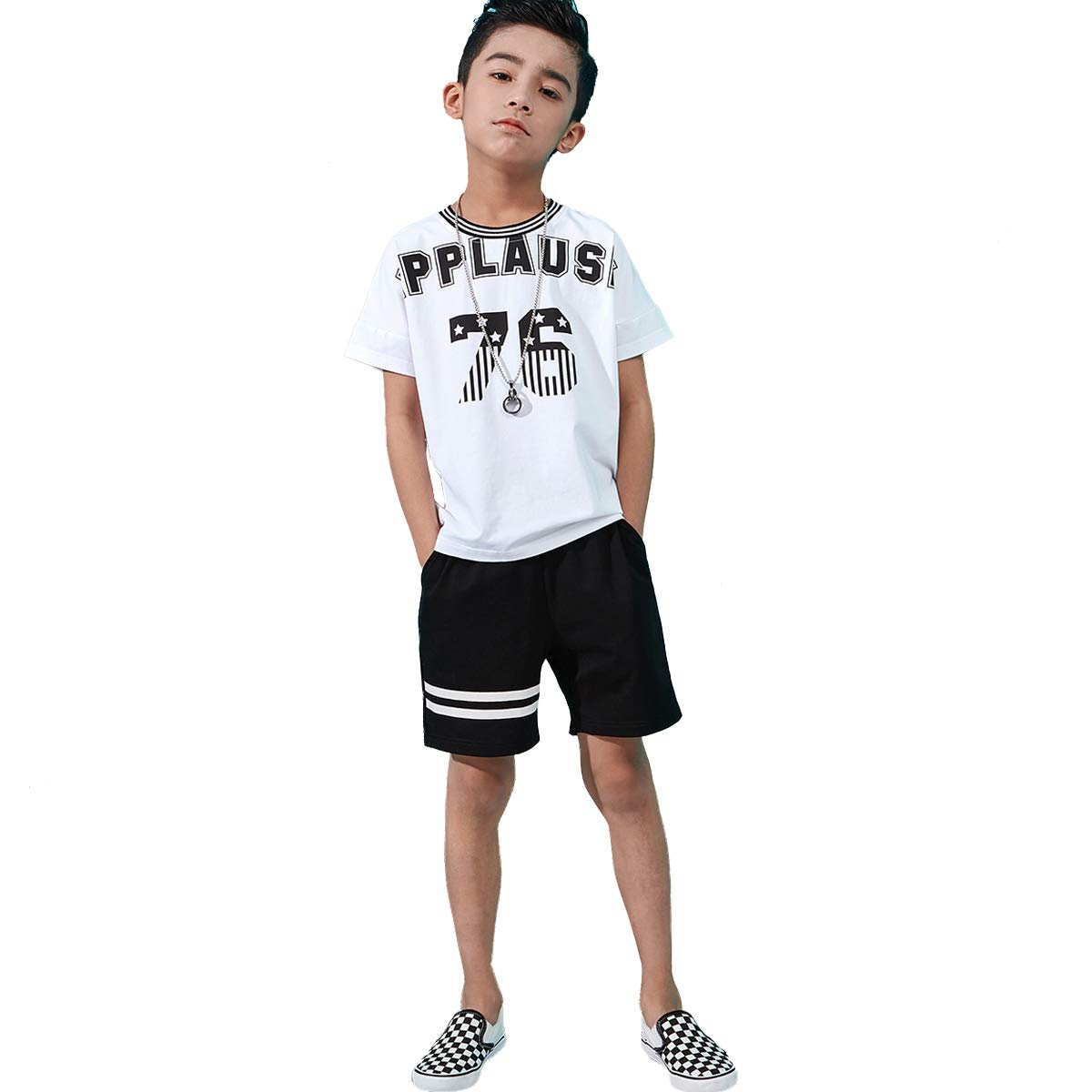 OnlyAngel Kids Boys Casual Clothing Sets Short Sleeve T-Shirt /& Stretch Shorts Set Size 4-13 Years