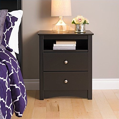 Black Sonoma Tall 2 Drawer Nightstand with Open Shelf