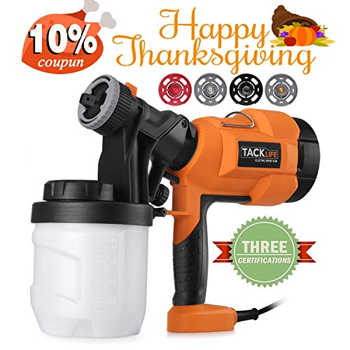 Paint Sprayer,Tacklife SGP15AC Electric Paint Spray Gun, 3 Spraying Patts, 900 ml Paint Container, Easy-used for Painting Projectserns with 4 Nozzle
