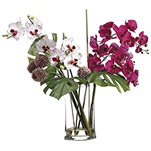 28 Inch Tall Allium/Phalaenopsis Orchid in Glass Vase 70