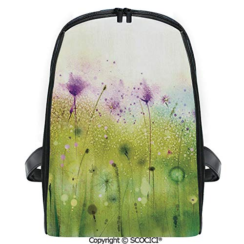 (SCOCICI Students Cute Printed Bookbag Abstract Blurred View of Purple Cosmos Flowers Blooming Meadow Decorative with Funny Personalized Graphics)