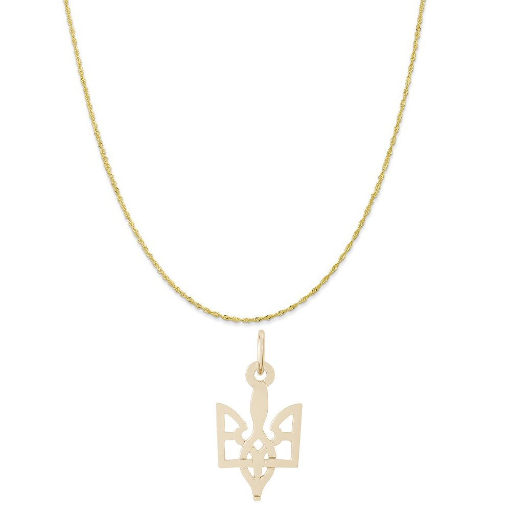 Rembrandt Charms 10K Yellow Gold Ukrainian Trident Charm on a Twist Curb Chain Necklace, 18''