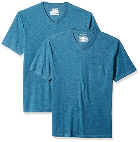 Amazon Essentials Men's 2-Pack Slim-Fit V-Neck Pocket T-Shirt, Teal Heather, Medium