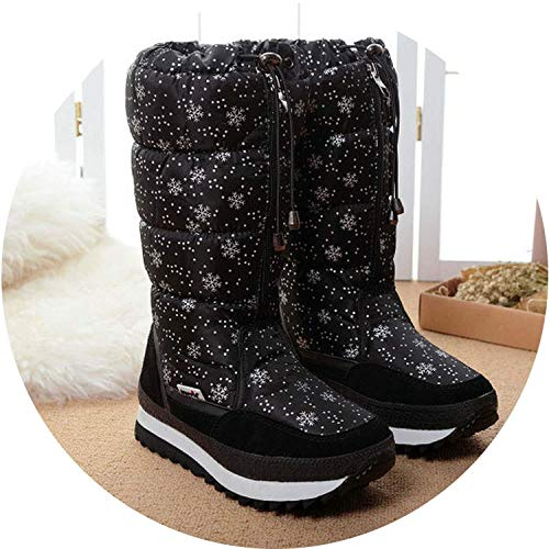 Best Rated for Winter Gift 2018 Winter High Women Snow Boots Plush Warm Shoes Easy wear Girl White Zip Female hot Boots,38MEU,0767black