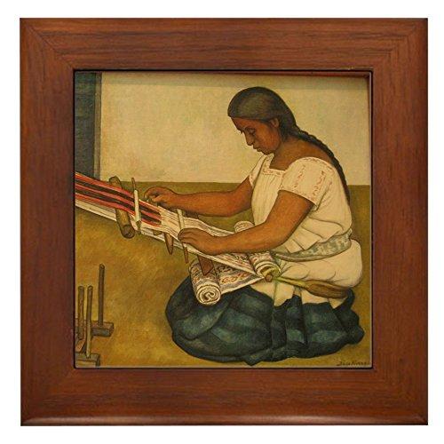 CafePress - Diego Rivera Weaving Loom Art - Framed Tile, Decorative Tile Wall Hanging