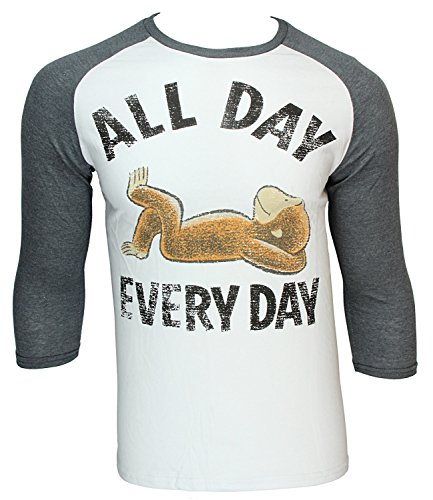 Curious George All Day Every Day Cartoon Character Raglan Shirt Large