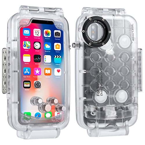HAWEEL iPhone X Underwater Housing Professional [40m/130ft] Diving Case for Diving Surfing Swimming Snorkeling Photo Video with Lanyard (iphone X, Transparent)