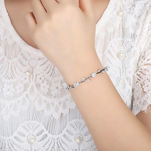 7665e6c949291b BISAER Lovely Rose Gold Plated Bracelet Rose Tennis Bracelet Link Bracelet  AAA Cubic Zirconia Gemstone Flower Vine 7 Inches Bracelet for Mothers Girls  ...