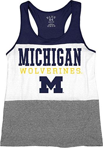 NCAA Michigan Wolverines Tri-Blend Panel Tank Top, Navy, Small (Ncaa Wolverines Fiber Michigan)