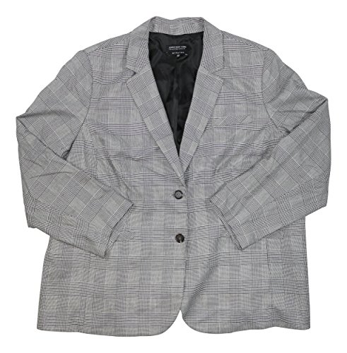 Jones New York Plus Size Olivia 2 Button Plaid Blazer (24W, Jet Black/White)