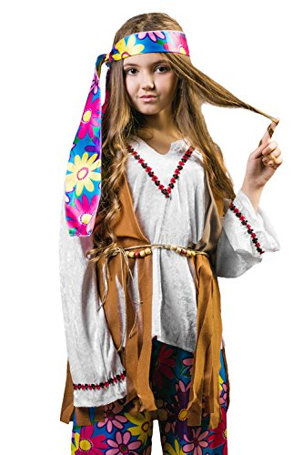 Kids Girls Hippie Girl Costume Hippy Flower Child Birthday Party Outfit Dress Up (6-8 years, Brown/White)