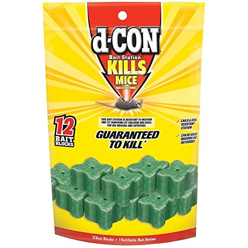 d-CON Refillable Corner Fit Mouse Poison Bait Station, 1 Trap + 12 Bait Refills