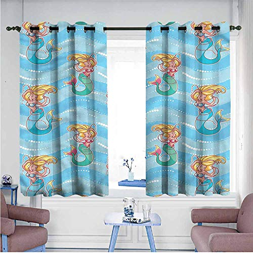 Mdxizc Fresh Curtains Mermaid Lovely Fairytale Characters Girl Room Blackout Curtain W72 xL72 Suitable for Bedroom,Living,Room,Study, -