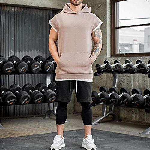 Capuche shirt Débardeur Maillot Musculation Top T Kaki À Tank Manche Bodybuilding Lianmengmvp Fitness Homme Athletic Haut Courte Gym 6qdE76w