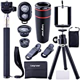 Longruner 10 in 1 Mini Camera Lens Kit 8 x Telephoto Lens + Fish Eye Lens + Wide Angle + Macro Lens Selfie Stick Monopod + Bluetooth Remote Control + Mini Tripod with a 6 Slots Case