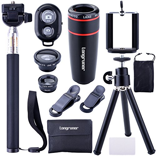 Longruner 10 in 1 Mini Camera Lens Kit 8 x Telephoto Lens + Fish Eye Lens + Wide Angle + Macro Lens Selfie Stick Monopod + Bluetooth Remote Control + - Glasses Lenses Update In