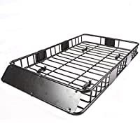 """64"""" Universal Black Roof Rack Cargo with Extension Car Top Luggage Holder Carrier Basket Travel SUV"""