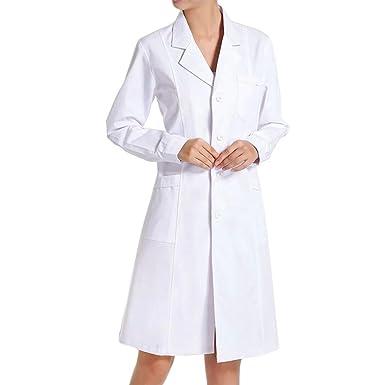TIANLIN Bata de Médico Laboratorio Enfermera Sanitaria Ropa y Uniformes de Trabajo de Trabajo Blanca de Manga Larga para Mujer