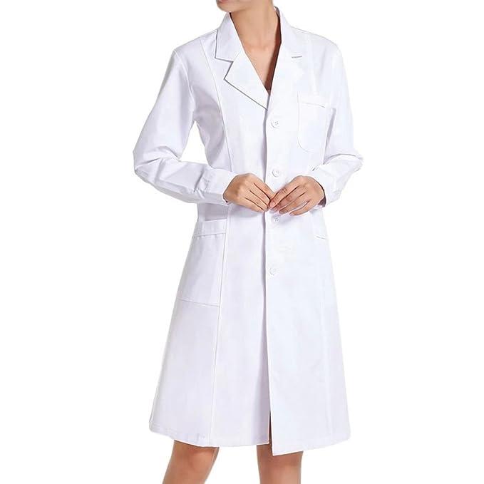 Bata de Médico Laboratorio Enfermera Sanitaria Ropa y uniformes de trabajo de Trabajo Blanca de Manga