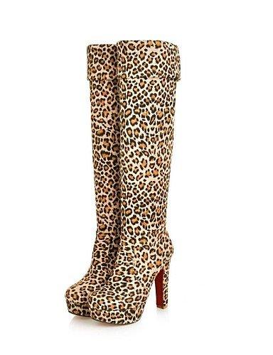 XZZ  Stiletto - Beflockung - FRAUEN - Kniehohe Stiefel - Plattform Fashion Stiefel - Stiefel ( Schwarz Blau Braun Tiere muster )