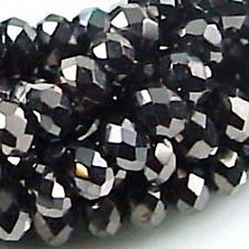 Glamorise Beads #12978 4mm Czech Firepolish Rondelle - Jet Hematite 90 Pcs ()