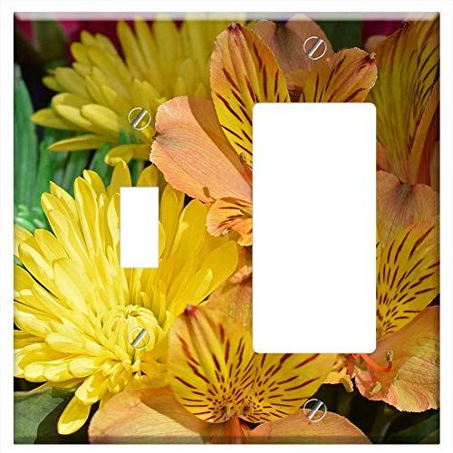 (1-Toggle 1-Rocker/GFCI Combination Wall Plate Cover - Alstroemeria Peruvian Lily Chrysanthemum Flow)