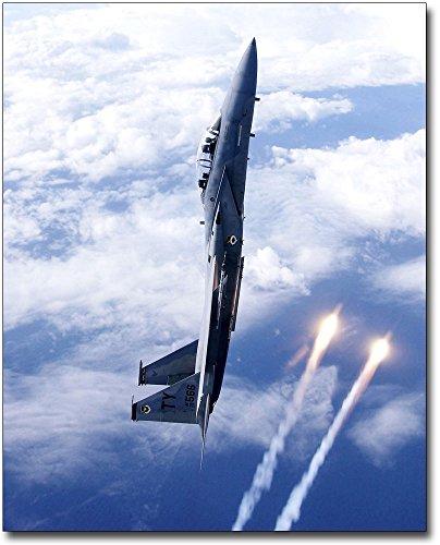 F-15d Eagle - F-15D / F-15 Eagle Aircraft Vertical Flares 11x14 Silver Halide Photo Print