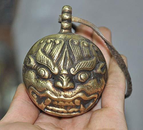 1 Bells Pendant - Wedding Decoration 2 - Wedding Decoration Old Tibetan Cattle Leather Bronze Foo Dog Beast Head Statue Bell Amulet Pendant - by GTIN - 1 PCs