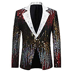Men's Slim Fit Sequin One Button Blazer
