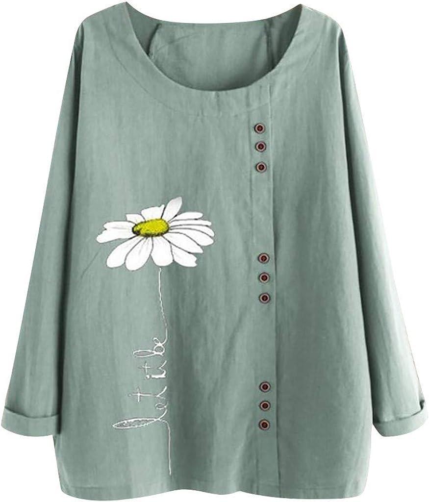 Eaktool Women's Long Sleeve Button Cotton Linen Kaftan Baggy Tee Shirt Tops