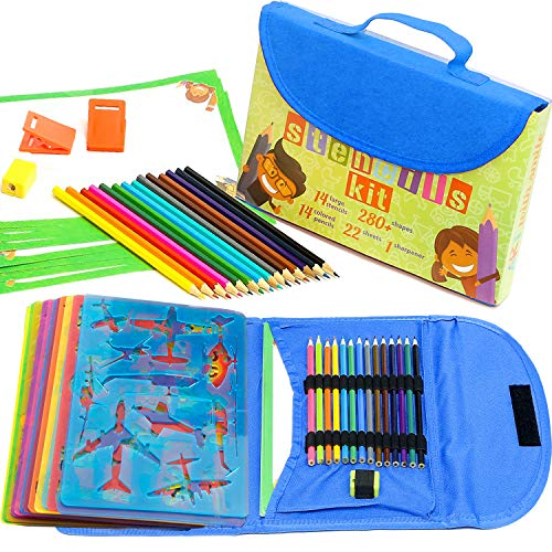 Stencil Drawing Kit for Kids w/ Carry Case - 54 pcs. w/ 280 Stencil Shapes and Colored Pencils - Arts and Crafts for Home Travel - Fun Creative STEM Toy for Girls and Boys Ages 3 to Teen - Blue -