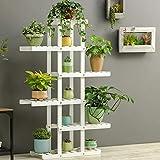 Magshion Wooden Flower Stands Plant Display Rack Choose 3 4 5 6 Shelf (6 Shelf White)