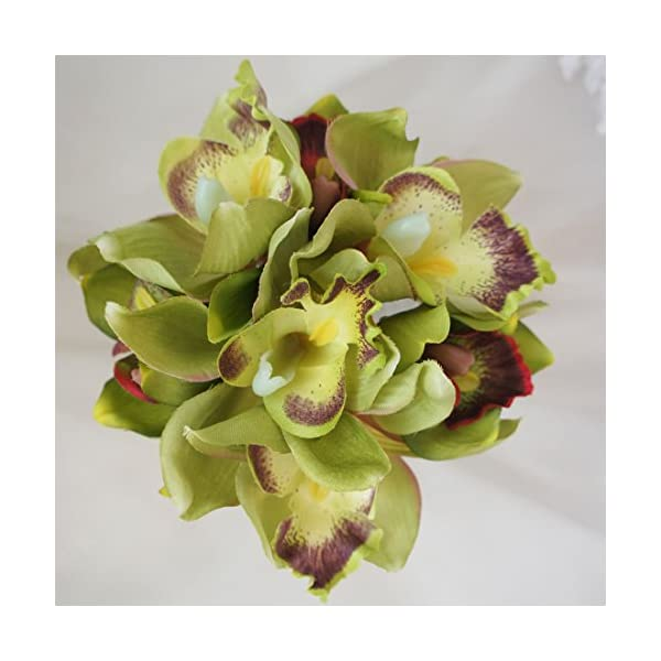 Lily-Garden-Mini-7-Stems-Cymbidium-Orchid-Bundle-Artificial-Flowers-Green