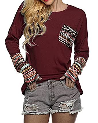 Womens Long Sleeve Round Neck Patchwork Casual Loose T-Shirt Blouse Tops (XS, Wine Red)