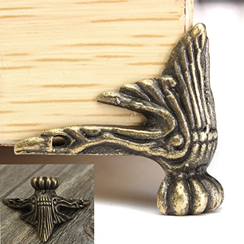 4pcs Antique Brass Wood Box Feet Leg Corner Protector EAGLESTIME