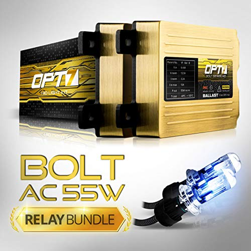 OPT7 Bolt AC 55w Hi-Power H4 (9003) Bi-Xenon HID Kit - Relay Bundle - All Bulb Sizes and Colors - 2 Yr Warranty [6000K Lightning Blue Light]
