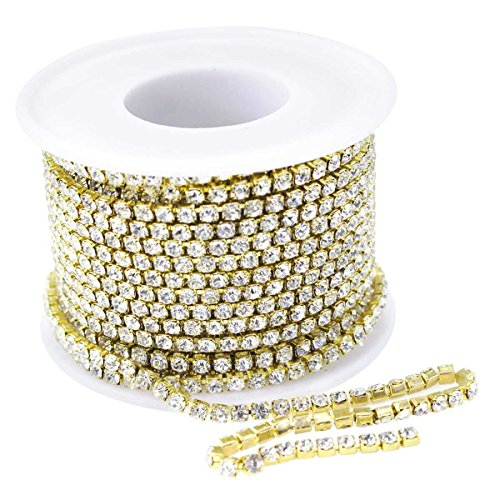 10Yard 3.0MM Clear Crystal Rhinestone Chain Close Trim Cup Chains Bulk for Craft Jewelry Making (Golden) ()
