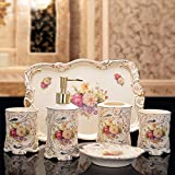 GTVERNH-Recipients Of Gifts Ceramic Bath Set Bath With Tray 6 Piece Set Bathroom Bathrooms Are Newly Married On The Move Toiletries