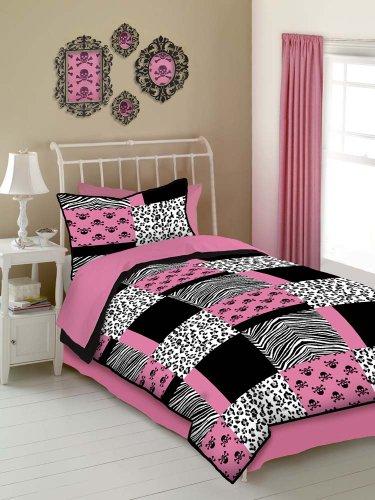 Veratex Pink Skulls Bedding Collection Modern Graphic Kids Bedroom 4-Piece Comforter Set, Graphite, Full ()