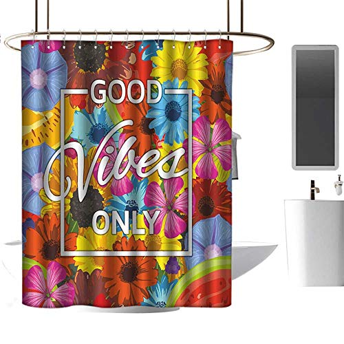 (Qenuan Colorful Shower Curtain Good Vibes,Exotic Blossoming Flowers in Lively Colors Spring Summer Season Tropic Accents,Multicolor,Print Polyester Fabric Bathroom Decor Sets 60