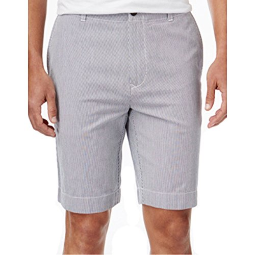 Striped Seersucker Bermuda Shorts (Tommy Hilfiger Mens Seersucker Striped Casual Shorts Blue 34)