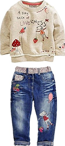 Little Girl's Long Sleeve Cartoon Pullover Shirt and Jeans Pants Outfit Set, Apricot, 2T