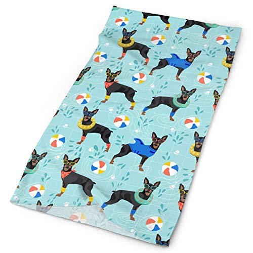 Unisex Stylish Miniature Pinscher Pool Quick Dry Microfiber Headwear Outdoor Magic Bandana As Neck Gaiter Head Wrap Headband Scarf Face Mask Ultra Soft Elastic One Size
