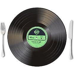 ElementDigital Vinyl Record Placemat Retro Record Place Mats Silicone Placemats Table Place Mat Easy Wipe Heat Resistant Anti-slip 6 Pack (Green)