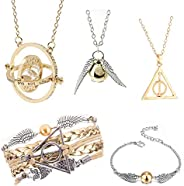 5PCS Harry Potter Necklace Set Time Turner Golden Snitch Deathly Hallows for Harry Potter Fans Gifts Collectio