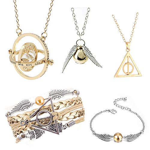 5PCS Harry Potter Necklace Set Time Turner Golden Snitch Deathly Hallows for Harry Potter Fans Gifts Collection Jewelry Gift -