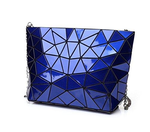 Blue Plaid Silver Split Hologram Bags For Joint Geometric Flada Chain Shoulder Women HWFpCxnx