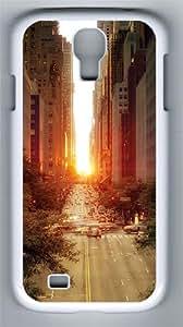 Sun Rising Over A Street 2 Custom Samsung Galaxy S4 I9500 Case Cover šC Polycarbonate šC White
